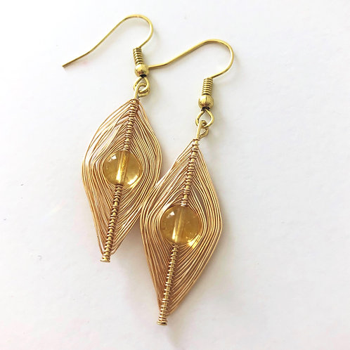 Gold Wrapped Citrine Earrings