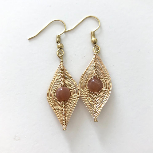 Gold Wrapped Sunstone Earrings