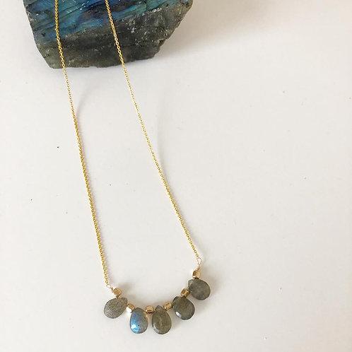 Labradorite Necklace 10k Gold
