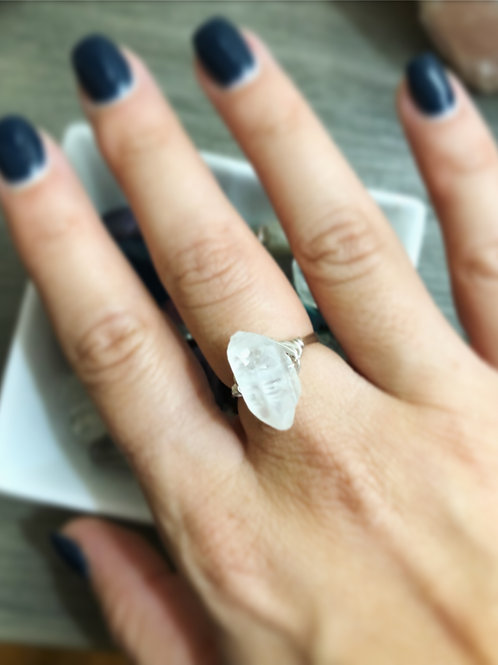 Clear Quartz Point Ring