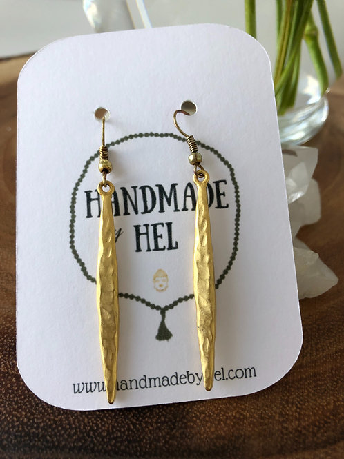 Hammered Gold Dangly Earrings