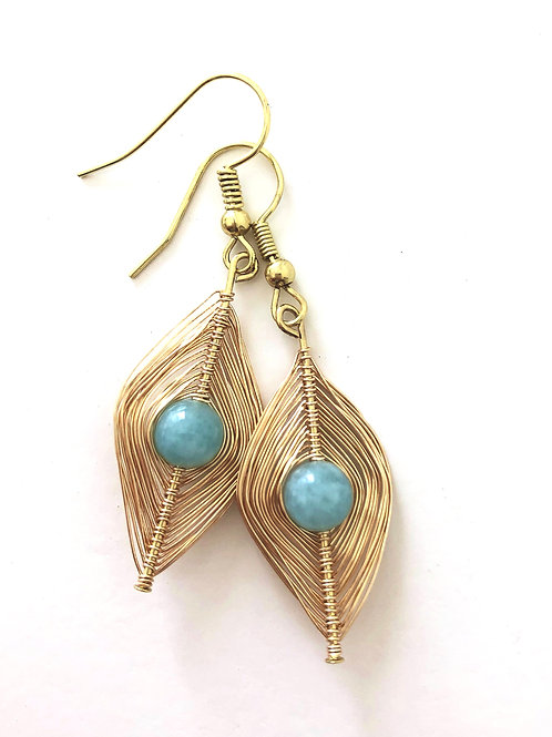 Gold Wrapped Aquamarine Earrings