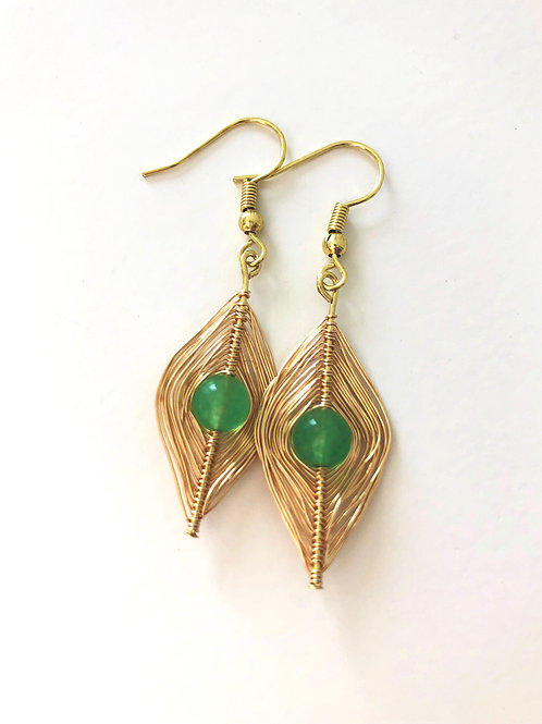 Gold Wrapped Green Aventurine Earrings