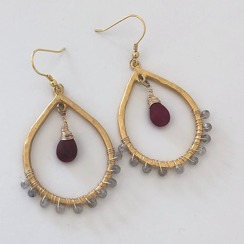 Ruby & Mystic Labradorite Earrings