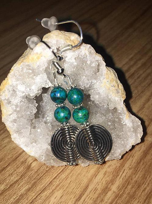 Gemstone Swirl Earrings
