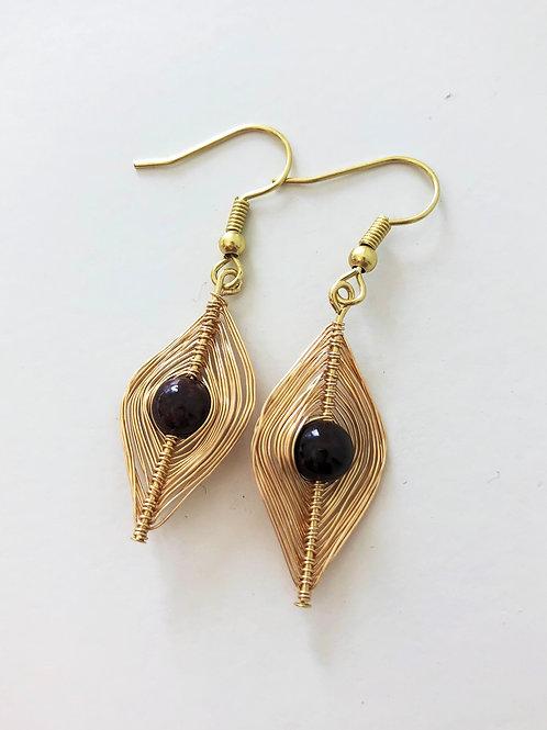 Gold Wrapped Garnet Earrings