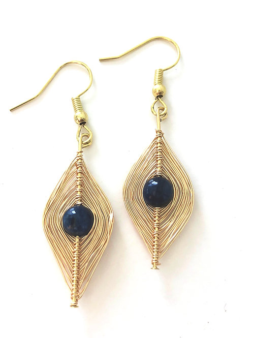 Gold Wrapped Kyanite Earrings