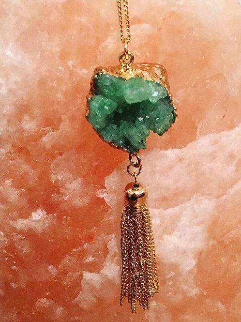 Gold Druzy Tassel Necklace
