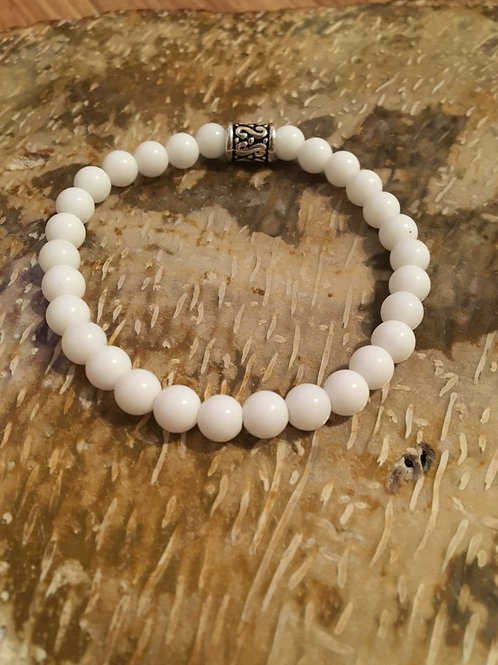 Men's White Jade Mala Bracelet