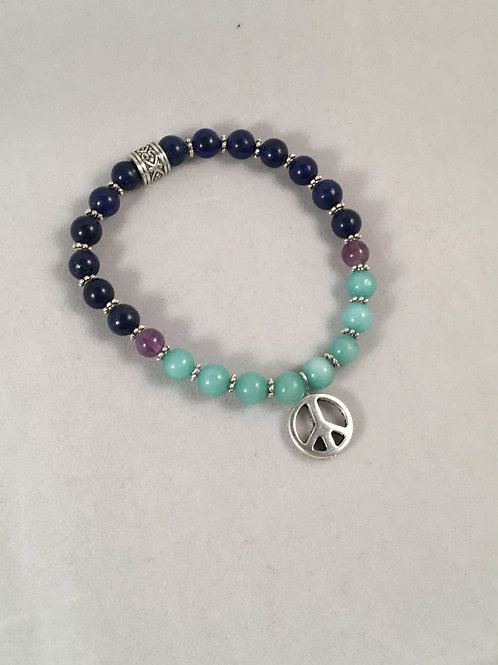 Lapis Lazuli, Amazonite & Amethyst Bracelet