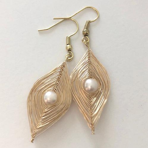 Pearl Wire Spiral Earrings