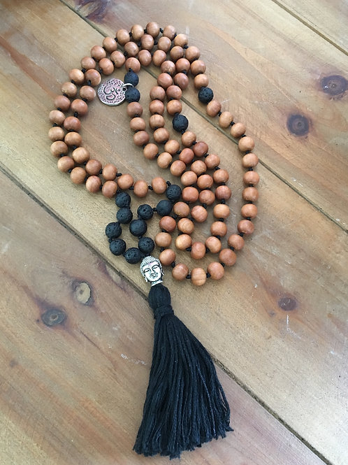Sandalwood & Black Lava Rock Mala