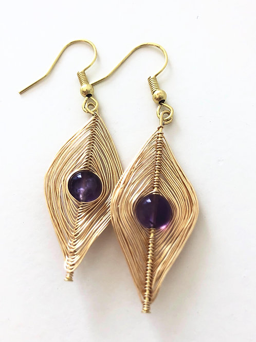 Gold Wrapped Amethyst Earrings