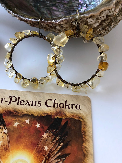 Copper Citrine Hoops