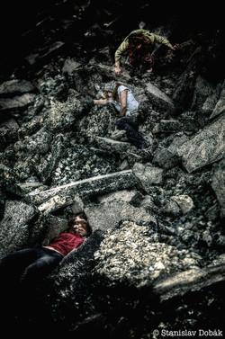 Bodies within asphalt blocks