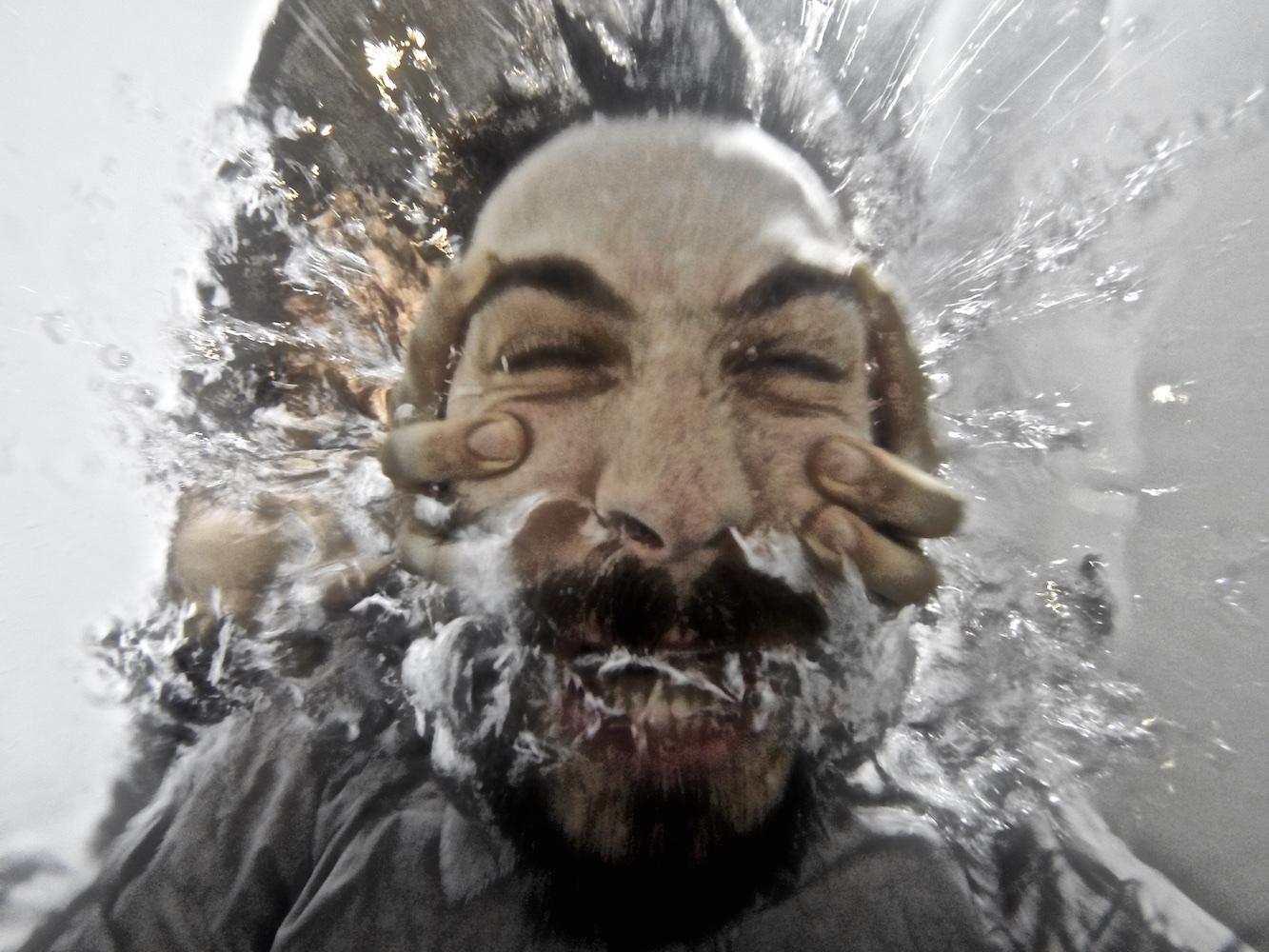 Underwater expressive portrait photo