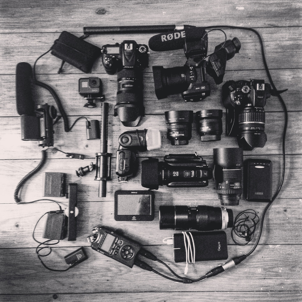 Photography, run and gun documentary and even cameraman equipment.
