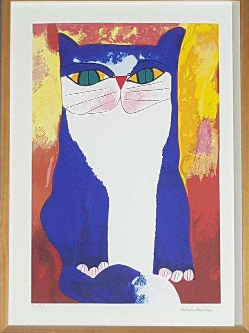 Aldemir Martins - Gato Azul e Branco III- Parcele em até 10x no Cartão