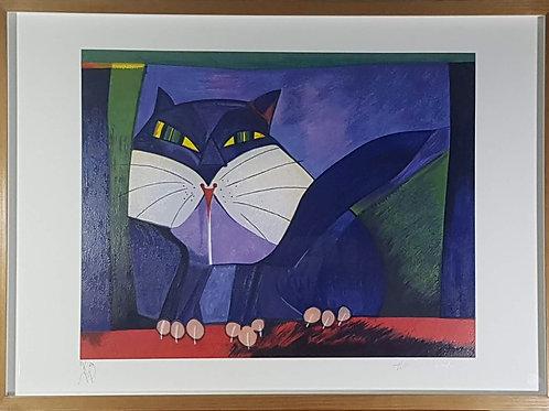 Aldemir Martins - Gato Azul e Branco II - 10x R$120,00 no Cartão