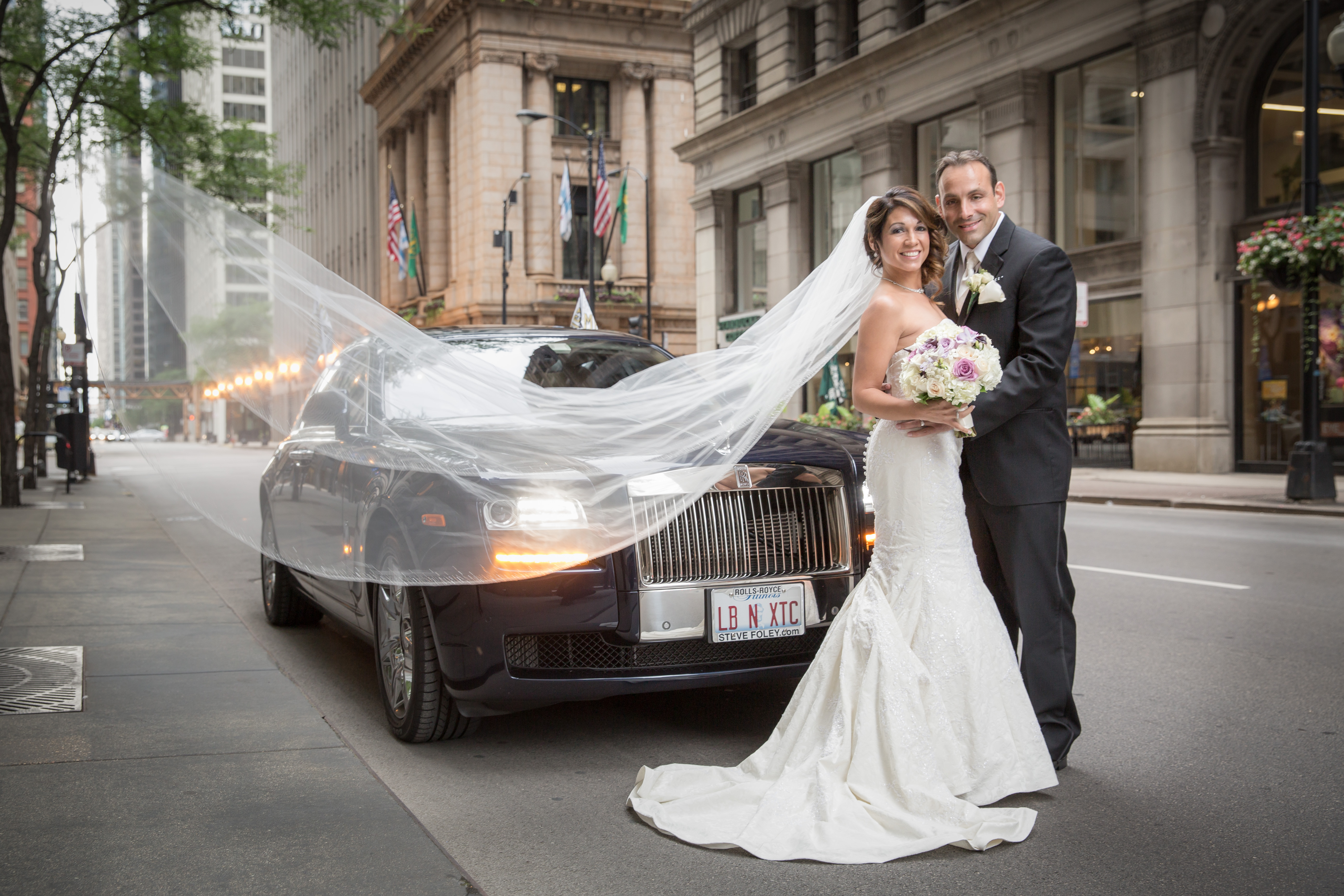 Veil Blows in the Breeze in Front of Rolls Royce