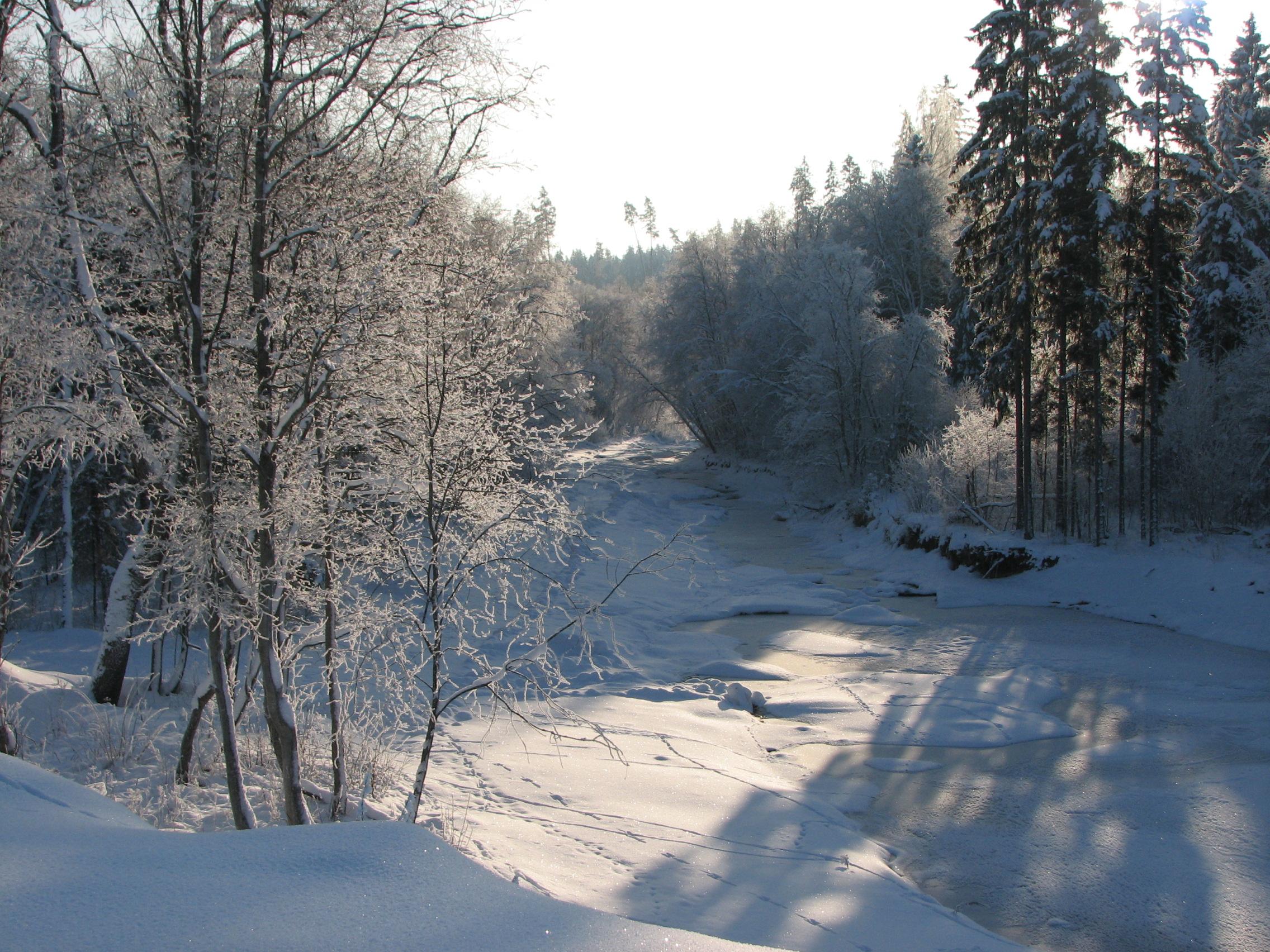 upe pie viesu nama ziemā