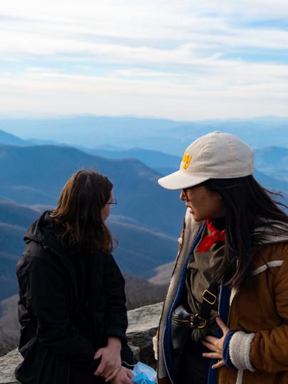 Asahi and Jordan on a hike in the Blue Ridge Mountains in 2021.