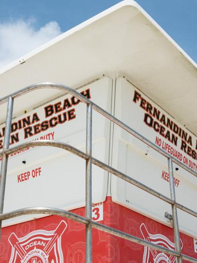 A lifeguard tower in Fernandina Beach, Florida.