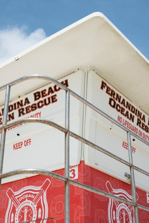 A lifeguard tower in Fernandina Beach.