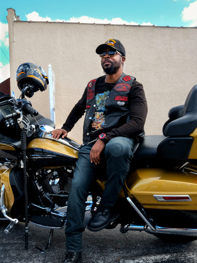 Jarrell, a biker, in Ybor City, Florida, in 2021.