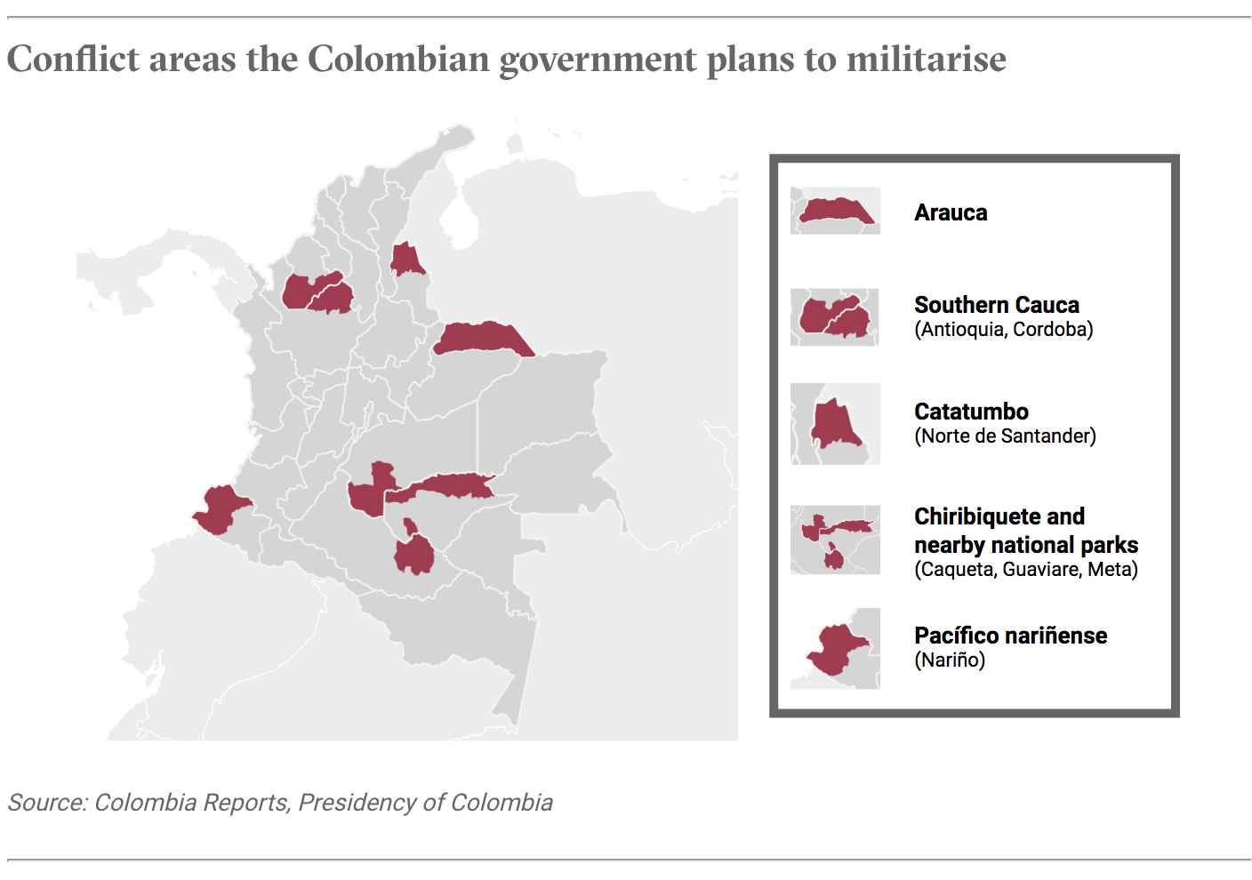 Conflict areas the Colombian government plans to militarise
