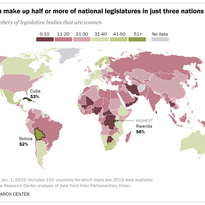 Women make up half or more of national legislatures in just three nations
