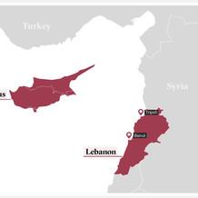 Map of Lebanon and Cyprus