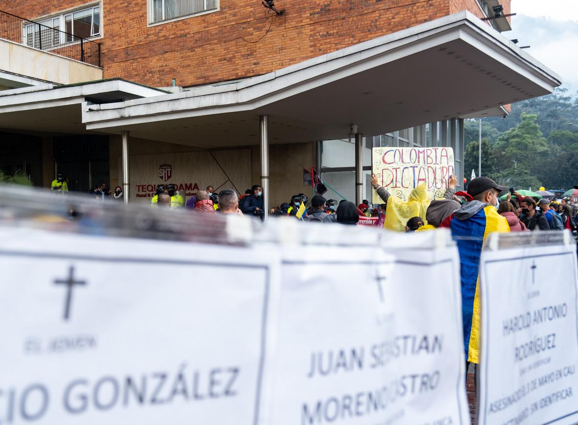 Demonstrators outside of Hotel Tequendama in Bogotá in mid-June 2021.