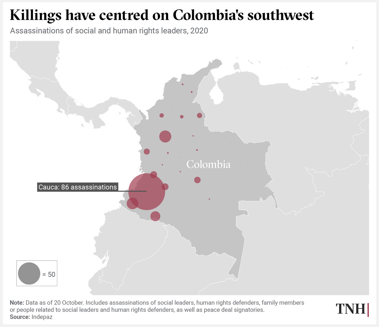 Killings have centred on Colombia's southwest