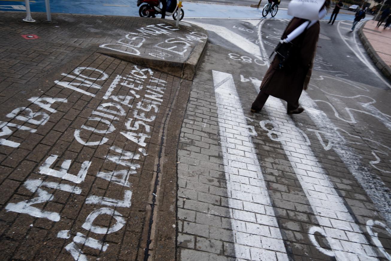 A protest in chalk near Hotel Tequendama in mid-June 2021.