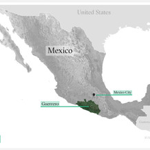 Map of Mexico with highlight on Guerrero