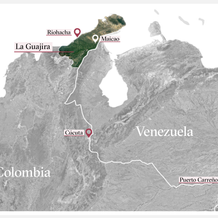 Map of Colombia with highlight on La Guajira