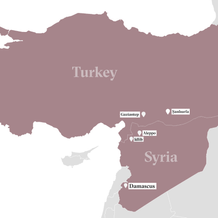 A map of Turkey and Syria