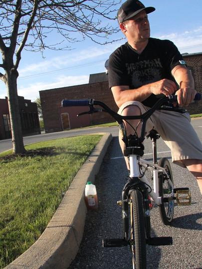 Brett Downs, a founding member of the Plywood Hoods flatland-style BMX team.