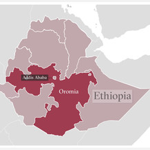 A map of Ethiopia with highlight of Oromia