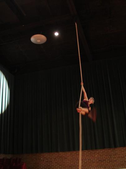 An acrobat rehearses during a Chautauqua tour in Libby, Montana, in 2014.