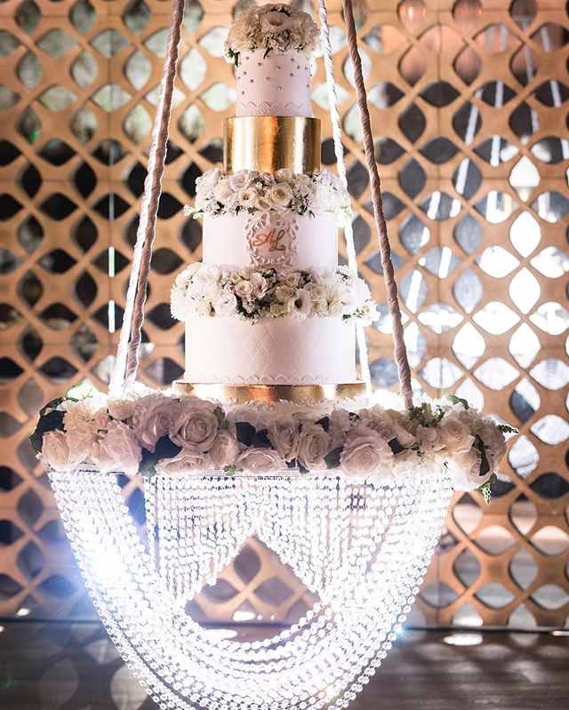 Isn't  she just gorgeous! Our suspended cake stand with her crystals shining in all its glory
