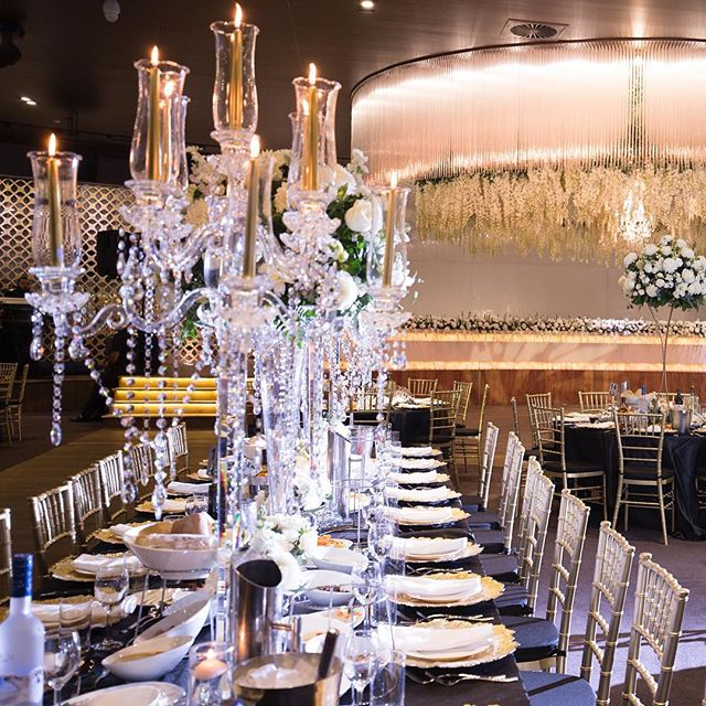SHINE BRIGHT LIKE A DIAMOND! _Our 8 arm Crystal cup candelabra with Gold dinner candles