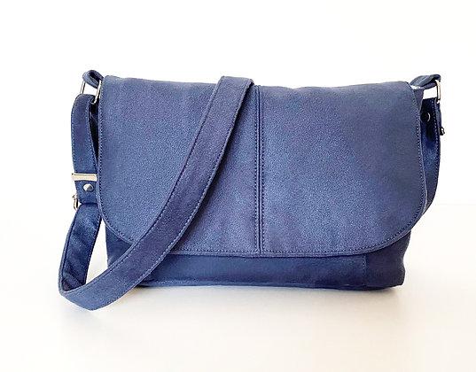 sac bandoulière suédine bleu