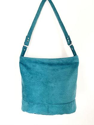sac grand format suédine bleu canard