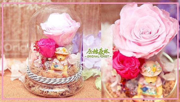原始森林 濃情粉紅保鮮花盆景