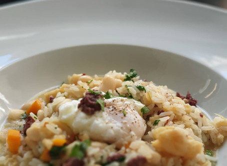Risotto de Bacalhau com Morcela e Feijão Branco❦Salt Cod Black Pudding Risotto with Cannellini Beans