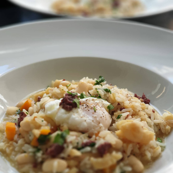 Risotto de Bacalhau com Morcela e Feijão Branco❦Salt Cod Black Pudding Risotto with Cannellini Beans