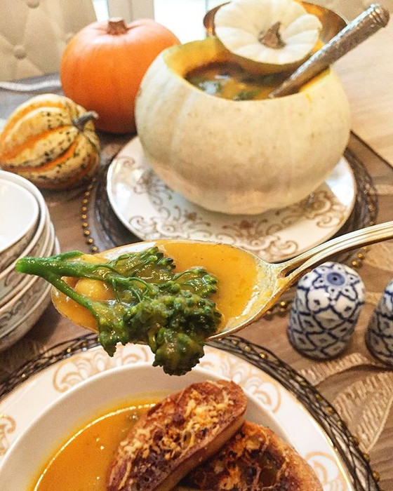 Pumpkin and Carrot Soup with Beans and Broccolini in a Pumpkin Tureen