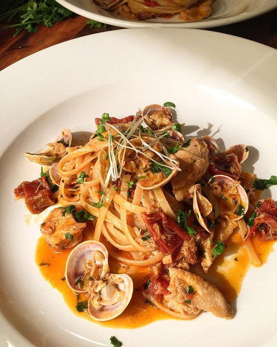 Chicken, Clam and Crab Linguine with Sun-dried Tomatoes and Chorizo